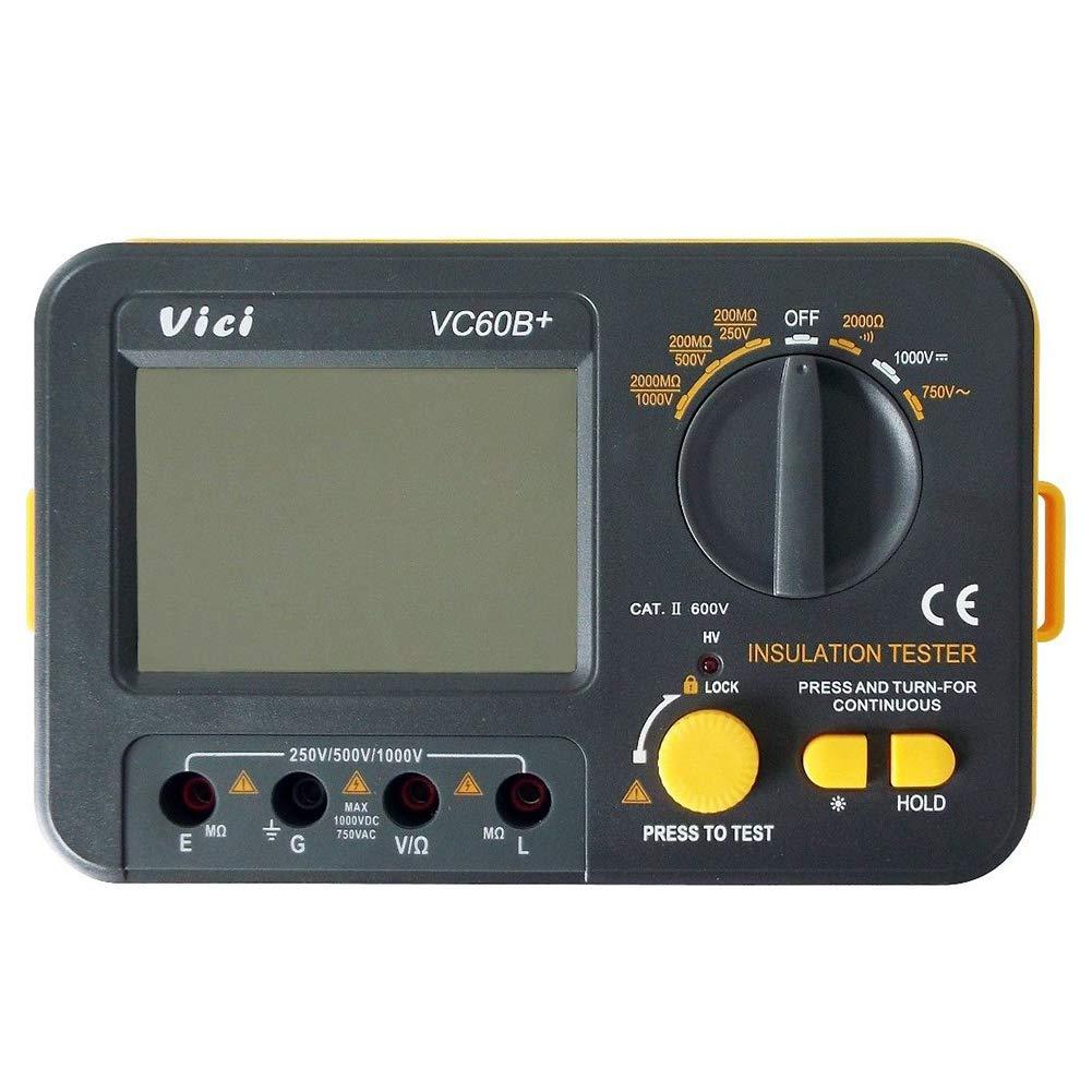 SODIAL VC60B Digital Insulation Resistance Tester Electronic Megger DC//AC 0.1~2000m ohm Megohm Meter LCD Voltmeter DVM 1000V