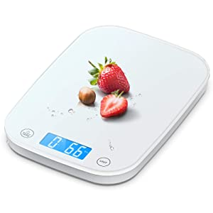 Nicewell Food Scale, 22lb/10kg White Kitchen Scale for Baking Cooking, Weighs in Grams and Ounce with 0.1oz/1g Resolution, Sleek and Water-Resistant Panel