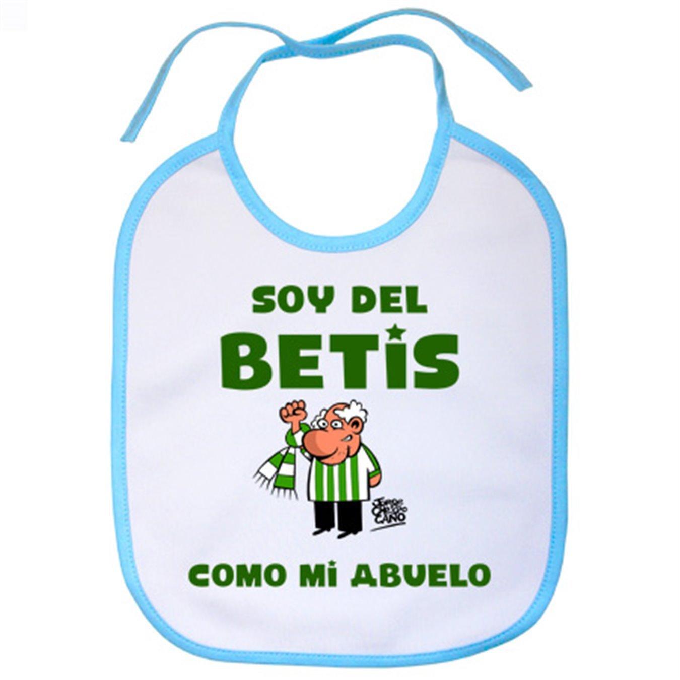 Babero Real Betis soy del Betis como mi abuelo - Celeste: Amazon.es: Bebé