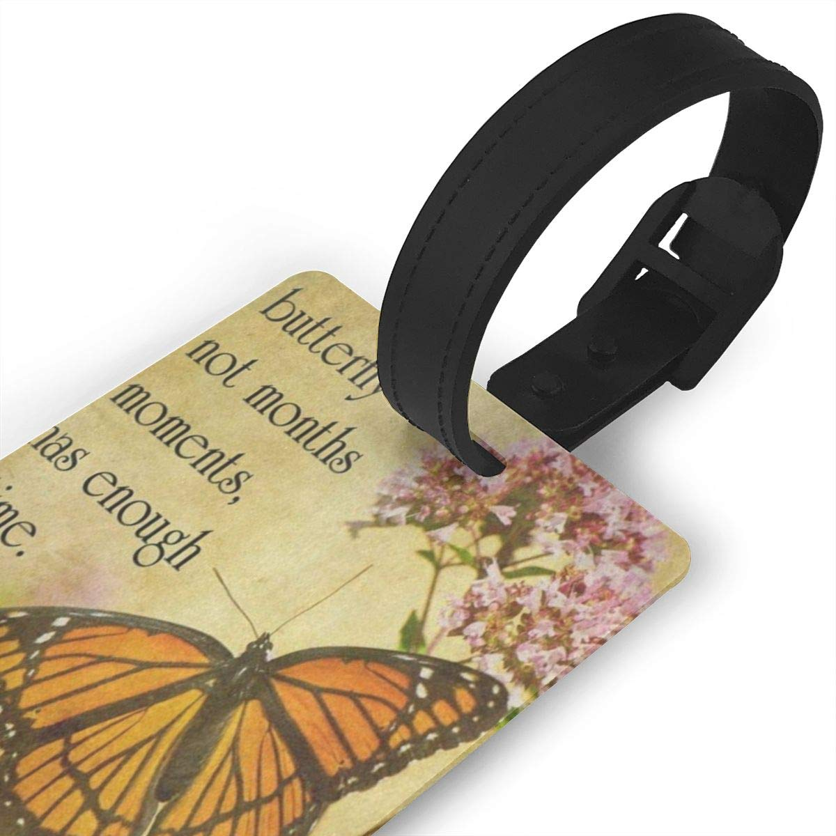 Luggage Tags Vintage Butterfly Floral Quote Bag Tag for Travel 2 PCS