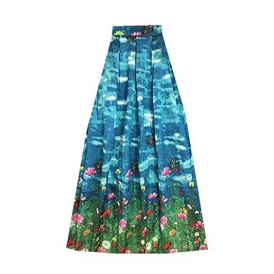 eaa7c033ddd6 Women Butterfly Animal Flower Floral Print High Waist 100cm Long Maxi Skirt  at Amazon Women's Clothing store: