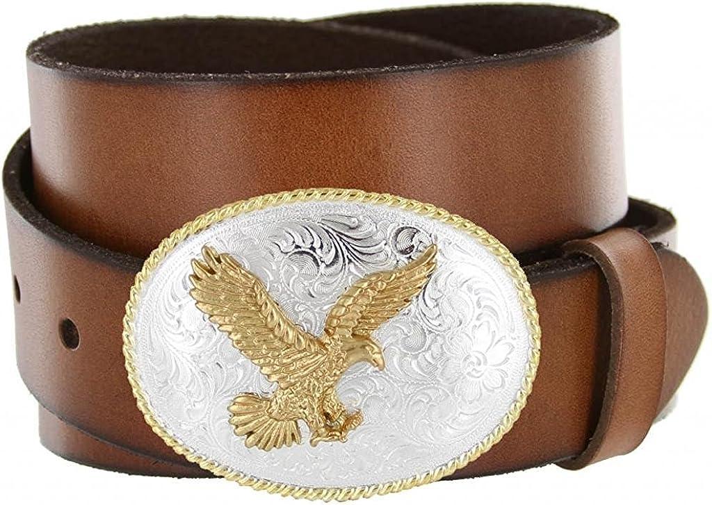 Pele Belt Men 1.5 Wide Full Genuine Cowhide Silver /& Gold Oval Eagle Buckle