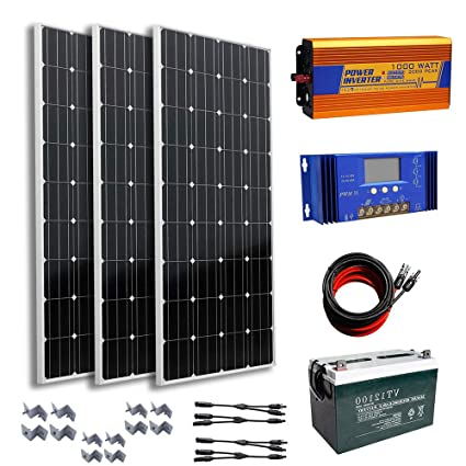 Amazon.com: 300 vatios, 12 V completo Kit Solar: 3pcs 100 W ...