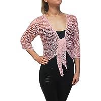 Mimosa Mujer Crochet Popcorn Bolero Liso de Encaje Elastico Cardigan Abierto