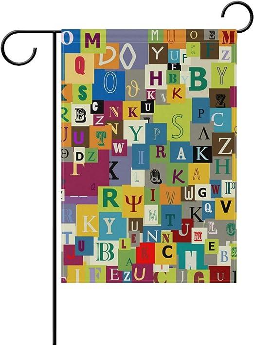 AMONKA Bandera de jardín con Letras del Alfabeto de mayúsculas en inglés de Dos Caras de poliéster para decoración del hogar, 30, 48 x 45, 72 cm, poliéster, 12x18 Inch: Amazon.es: Jardín