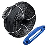 "Grey Synthetic Winch Rope Line Cable Kit 95'x3/8"" 20500 LBS + 10"" Hawse Fairlead for 4x4 Off-road ATV Truck Jeep (Blue Hawse Fairlead)"