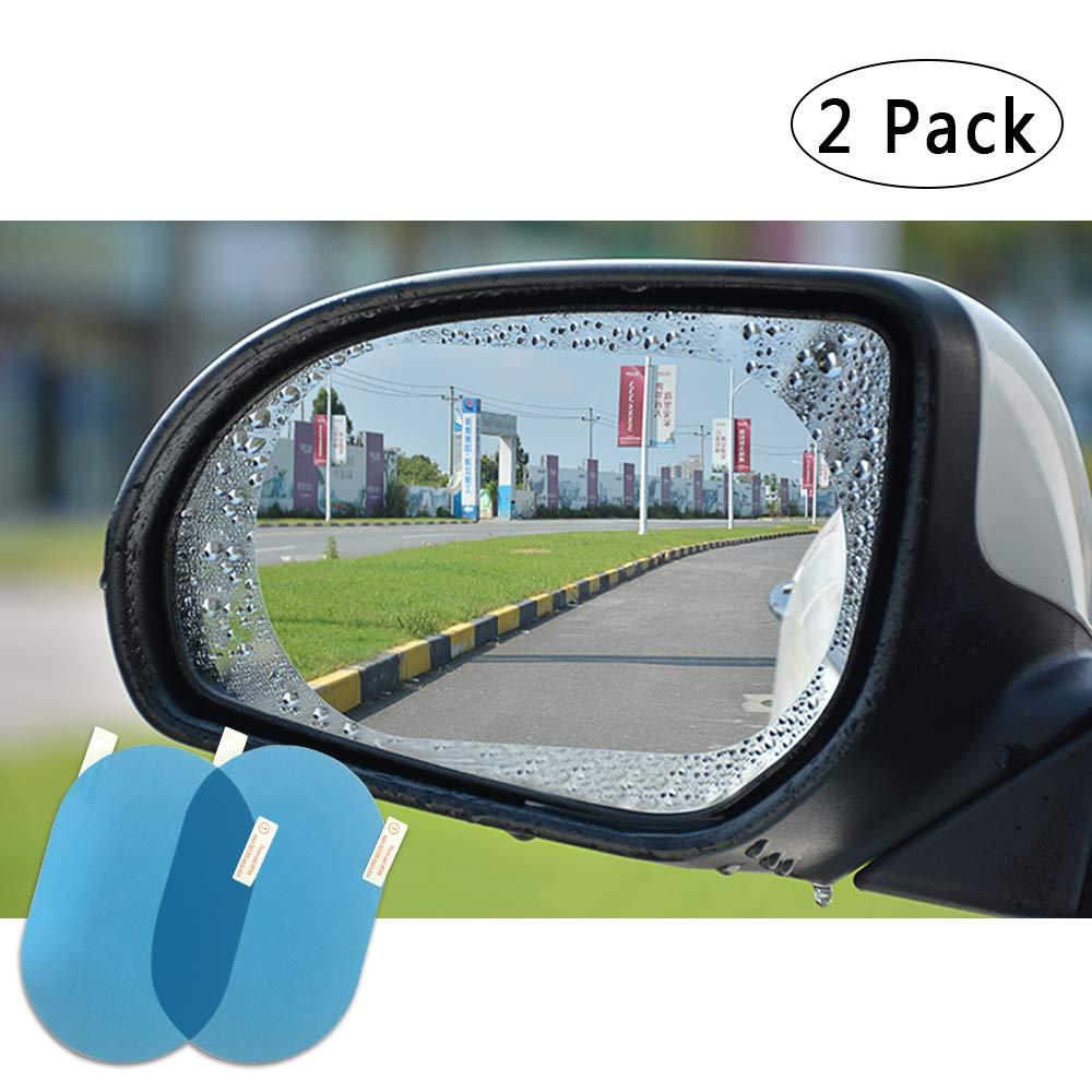 FMS 2 Pcs HD Car Rearview Mirror Rainproof Protective Film Rectangle Rainproof Film Nano Coating Waterproof Anti Fogging Rain Mist Water Glare (Rectangle*2)