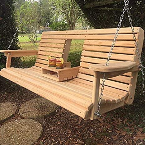 Cypress Apartment Size Wood Wooden Contoured Seat Porch Yard Swing 3ft