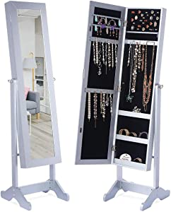"LED Light Jewelry Cabinet Armoire with Mirror, Large Storage 57"" Tall Mirrored Armoire Box Necklace Ring 27 Hook Girls Women, Modern Standing Jewelry Armories with 3 Adjustable Angles"