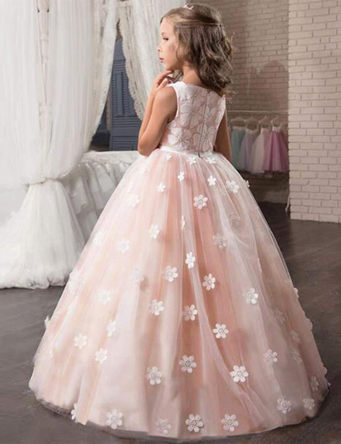 NNJXD Girls Princess Wedding Party Dresses Lace V-Neck Flower Printed Dress for 7-14 Years