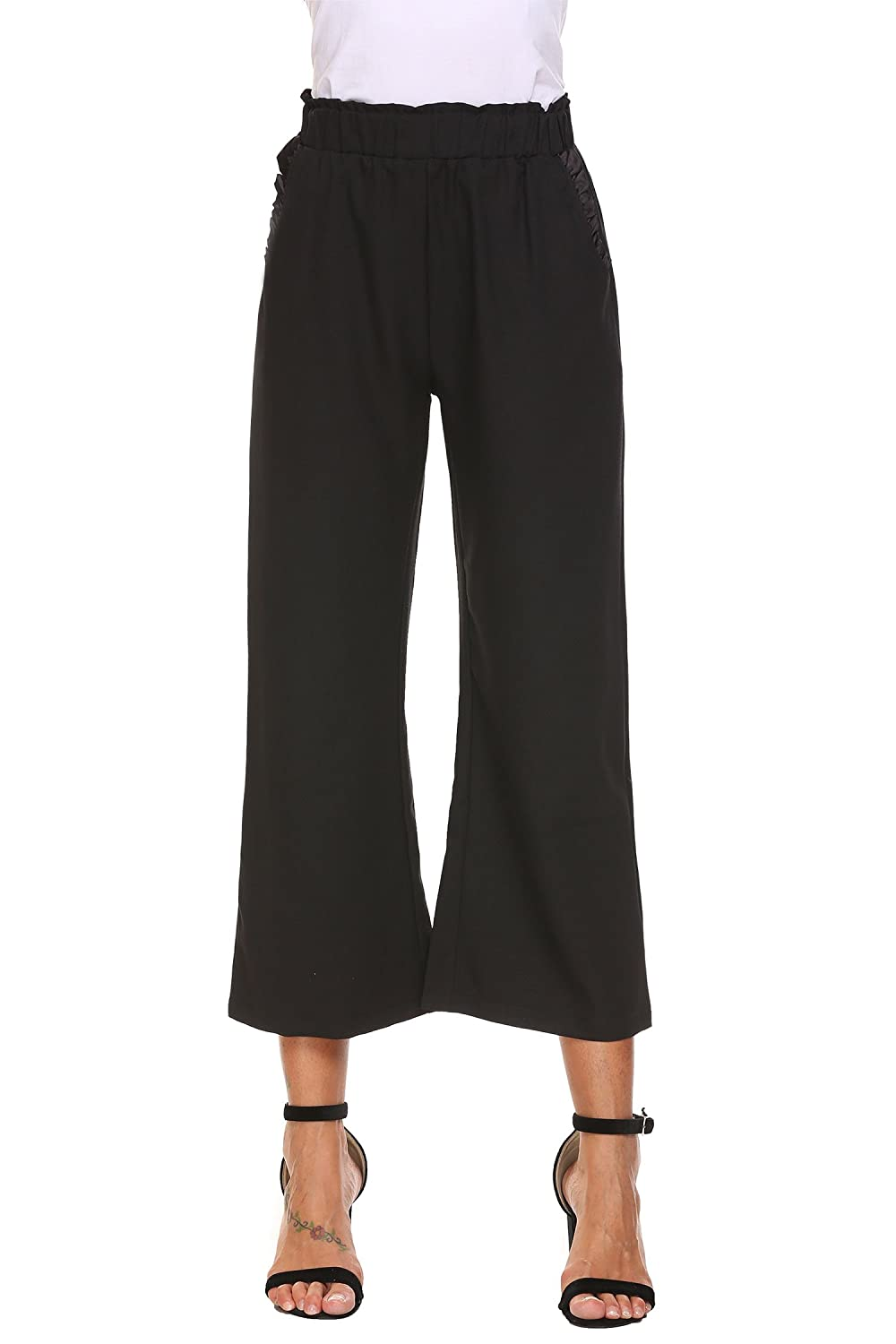 Chigant Women Elastic Waist Pull On Ruffles Wide Leg Casual Loose Cropped Pants