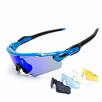 Cuzaekii 5 Lente Polarizado Ciclismo Gafas UV400 Intemperie Deportes Gafas de sol para Hombres Mujeres Cycling
