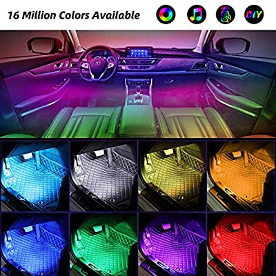 Interior Car Lights, YLCVBUD 4pcs RGB Car LED Strip Lights Waterproof APP Control 48 LED Multi Lighting Kits, Sync to Music Car Lighting + DC 12V Car Charger: Automotive