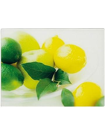 Zeller 26266 - Tabla de cortar de cristal con diseño de limones, 40 x 30