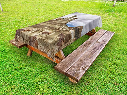 Lunarable New Mexico Outdoor Tablecloth, Bisti Badlands Chocolate Hoodoos and a Dull Sky, Decorative Washable Picnic Table Cloth, 58