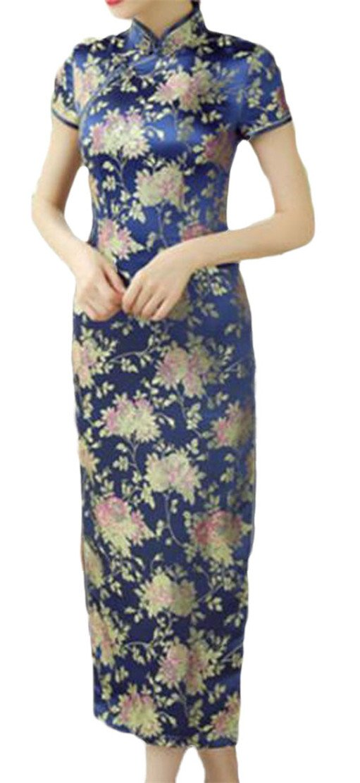 Joe Wenko Women Cheongsam Printed Split Ethnic Style Comfortably Bodycon Dresses Washed Blue S
