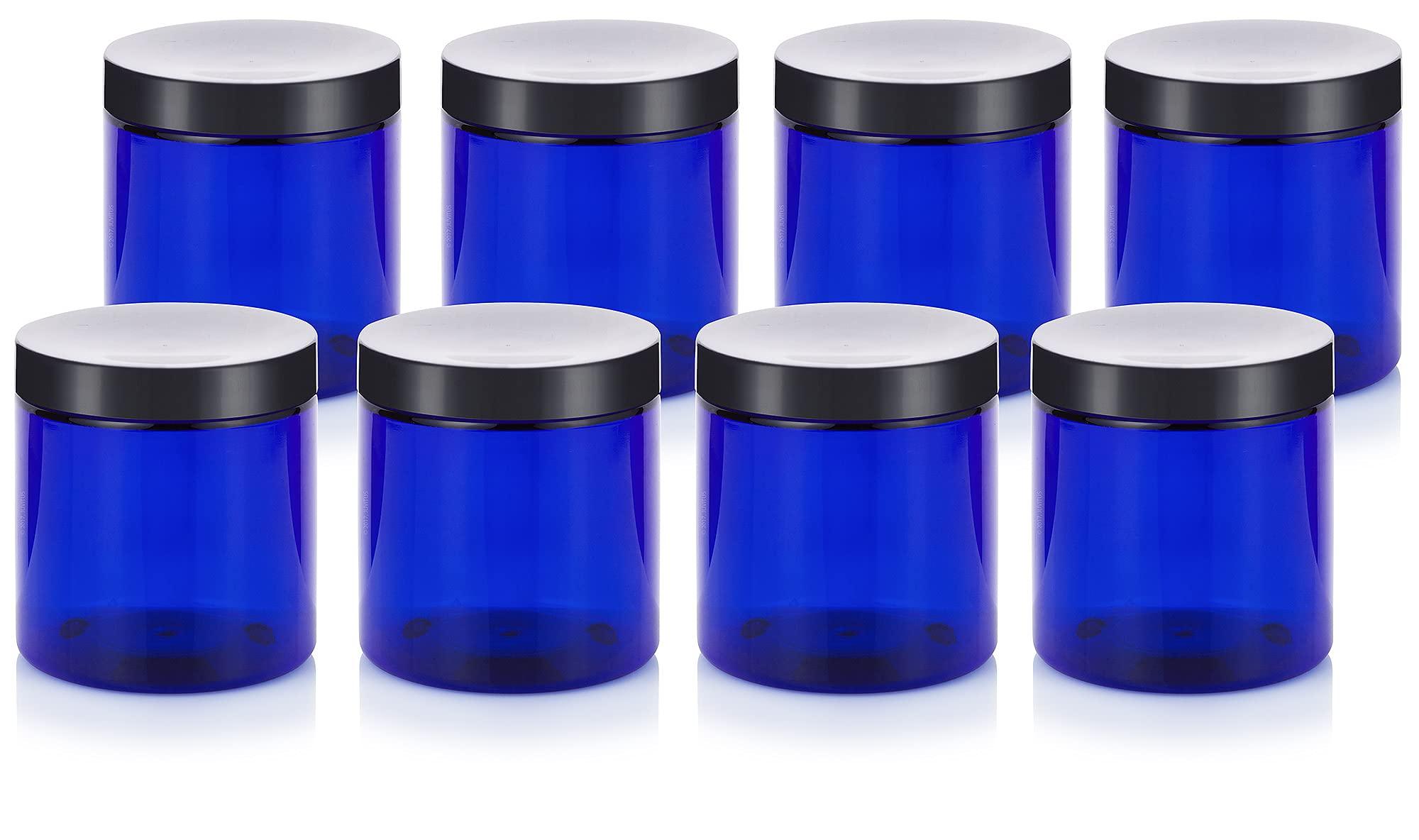 Cobalt Blue 8 oz / 250 ml PET (BPA Free) Plastic Jar (8 pack)