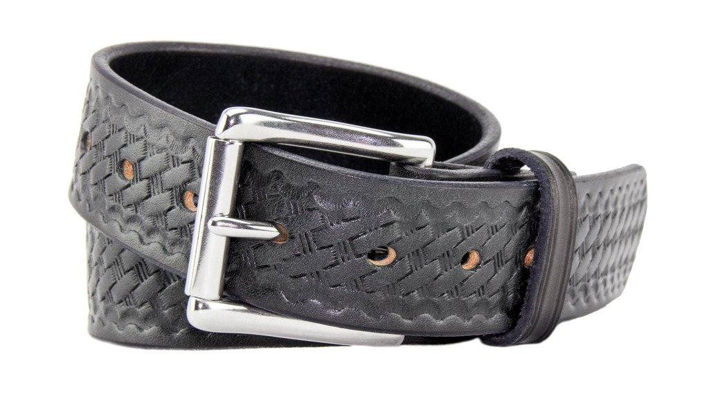 Relentless Tactical The Ultimate Concealed Carry CCW Leather Gun Belt - Basket Weave Pattern -1 1/2 inch Premium Full Grain Leather Belt - Handmade in The USA! Black Size 34 by Relentless Tactical (Image #1)