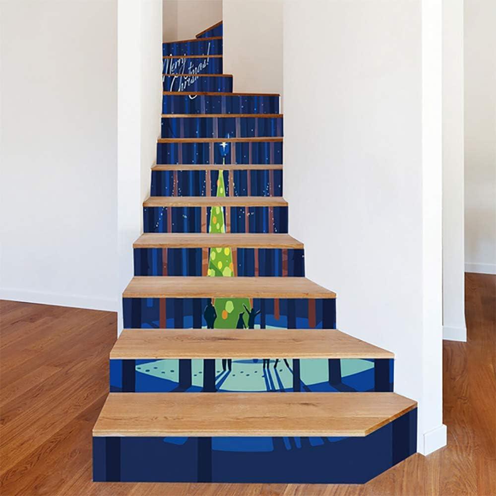 LTT& 3D DIY Navidad Escaleras Risers Pegatinas Desmontable Impermeable Autoadhesivo Papel Pintado De La Escalera para Escalera O Decoración del Hogar LT158,13PCS: Amazon.es: Deportes y aire libre
