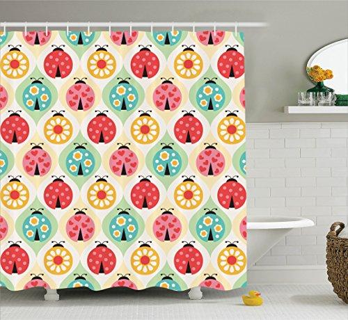 Ambesonne Ladybugs Decorations Collection, Lovely Ladybugs Cartoon Geometric Pattern Childhood Nursery Kids Baby Art Print, Polyester Fabric Bathroom Shower Curtain Set with Hooks, Pink - Curtain Ladybug Shower