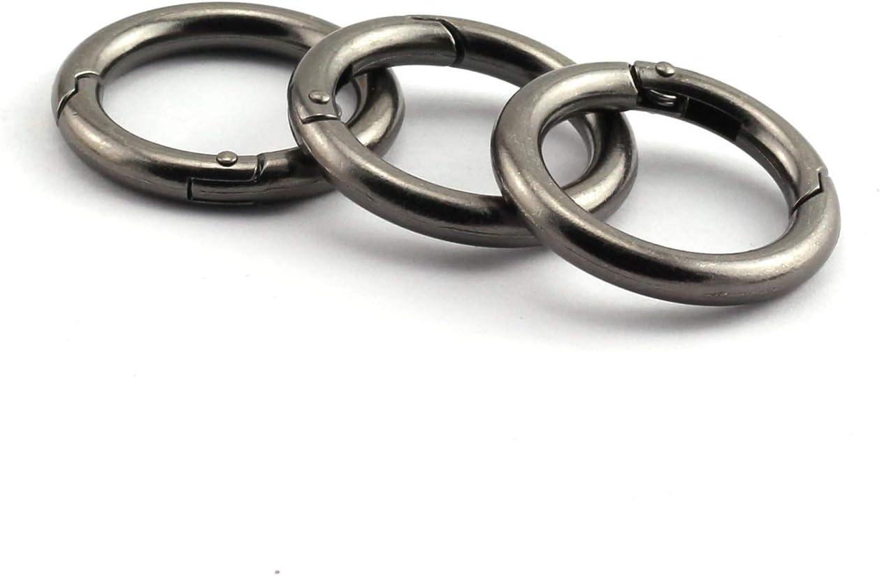 JCBIZ 6pcs 35mm Round Spring Snap Hooks Clip DIY Accessories for Handbag Purse Shoulder Strap Key Chains Buckle Zinc Alloy Circle Round Metal Spring Key Ring Light Gold