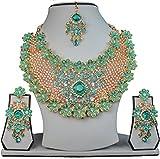 Handmade Women's Indian Partywear Stylish Necklace Alloy Amazing Jewelry Set Turquoise