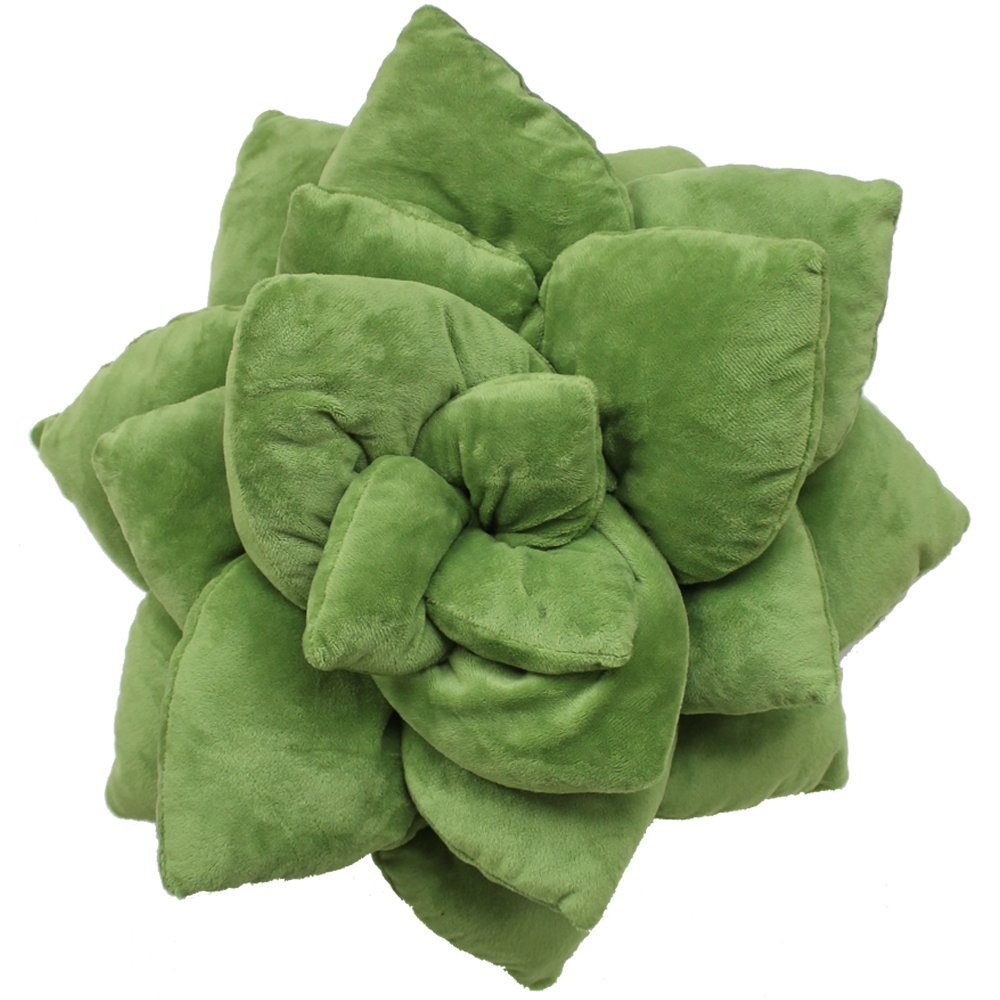 Succulent Cactus Décor Pillow for Green or Garden Lovers Green Nursery Living Room Accent 3D Shape to Create Your Life Size Lush Home Terrarium - Olive Green by Green Philosophy Co.
