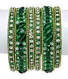 1 Set 6pcs Indian Traditional Bollywood Wedding Kundan Style Bangles / Chudi (Green)