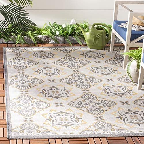 (Safavieh Courtyard Collection CY7978-78A21 Light Grey and Anthracite Indoor/ Outdoor Area Rug (5'3