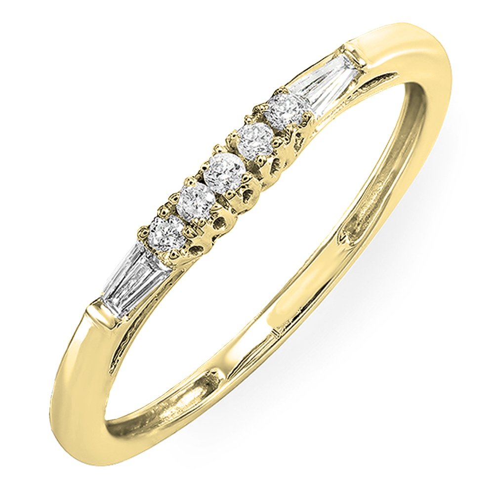 Dazzlingrock Collection 0.13 Carat (ctw) 10K Round & Baguette Diamond Ladies Wedding Stackable Guard Band, Yellow Gold, Size 7