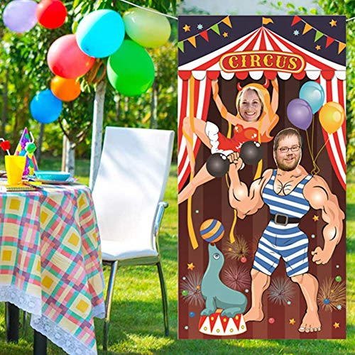 Circus Party Decoration, Photo Door Banner Backdrop Props for Party Deco Game Supplies Large Fabric Photo Door Banner - 6x3 ft -
