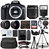 Canon 1300D/Rebel T6 DSLR Camera + 18-55mm 3 Lens Kit + 16GB Top Value Bundle – 2x Telephoto Lens + Wide Angle Lens + 3 Piece Filter Kit + Tripod + Lens Hood + Flash + More! – International Version For Sale