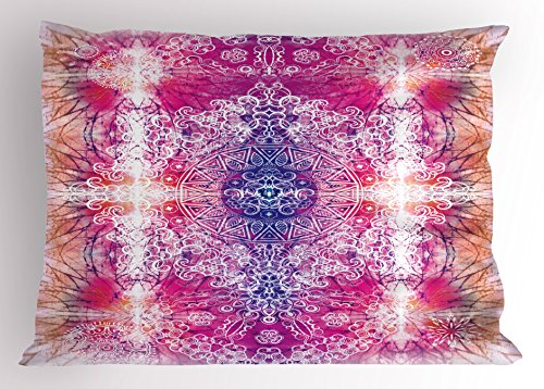 Far Eastern Decor (Mandala Pillow Sham by Ambesonne, Far Eastern Style Traditional Mandala Tie Dye Style Ombre Print Harmony Meditation Theme, Decorative Standard Queen Size Printed Pillowcase, 30 X 20 Inches, Pink)