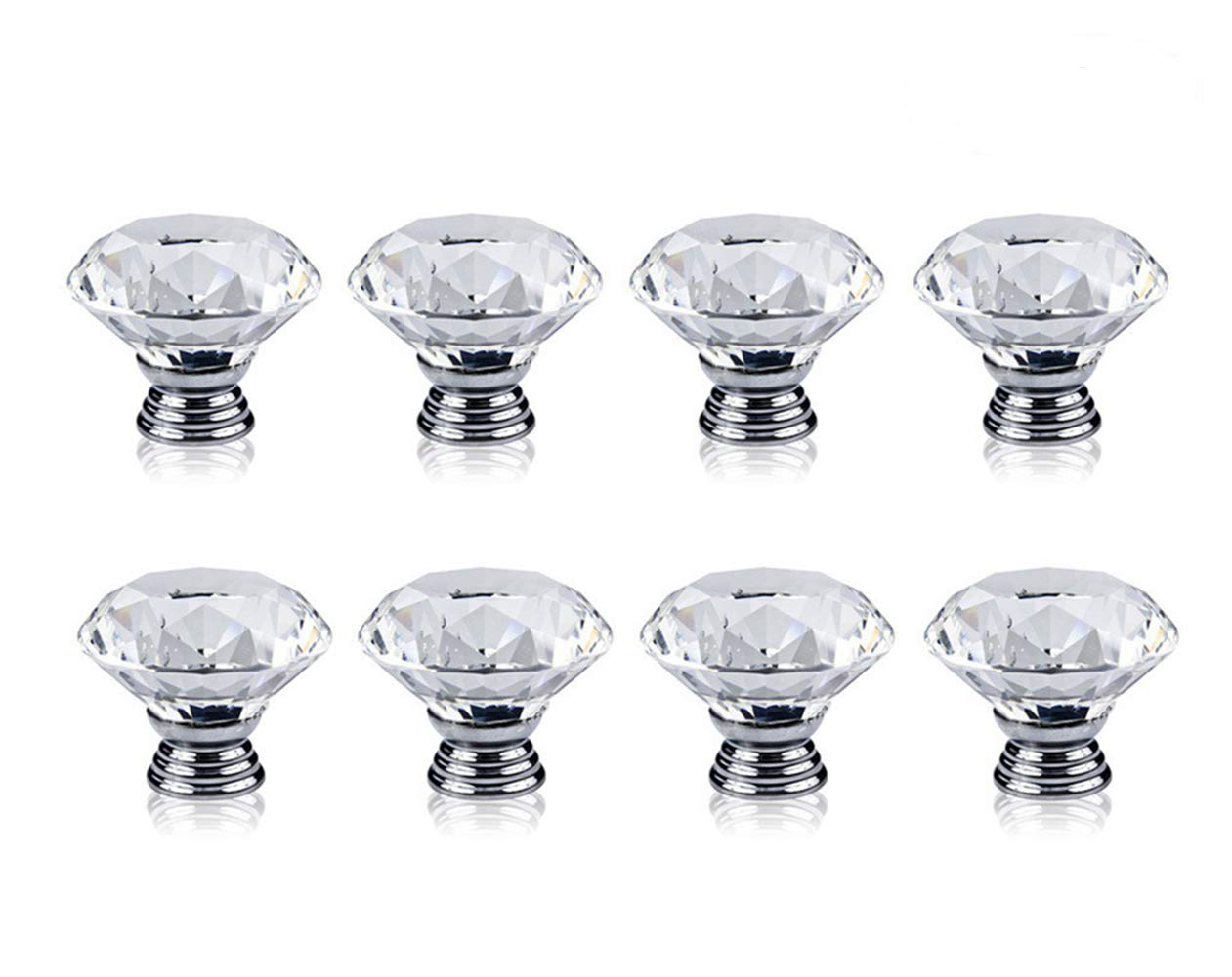 KINGSEVEN Pack of 8 Transparent Diamond Shape Crystal Door Knob, 30mm Silvery Pull Handle for Cabinet, Drawer, Bin, Dresser, Cupboard, Wardrobe
