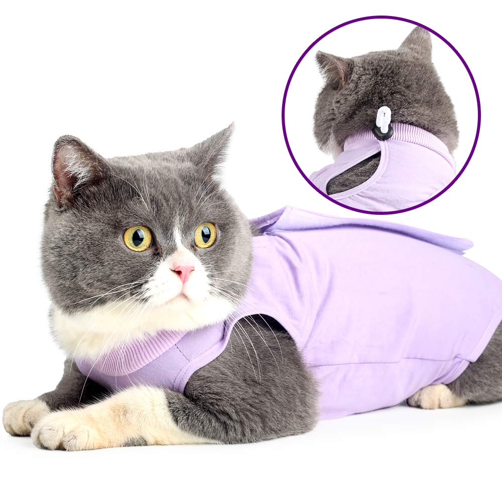 Cat Professional Recovery Suit for Abdominal Wounds or Skin Diseases, E-Collar Alternative for Cats and Dogs, After Surgery Wear, Pajama Suit (S, Purple) by Doton