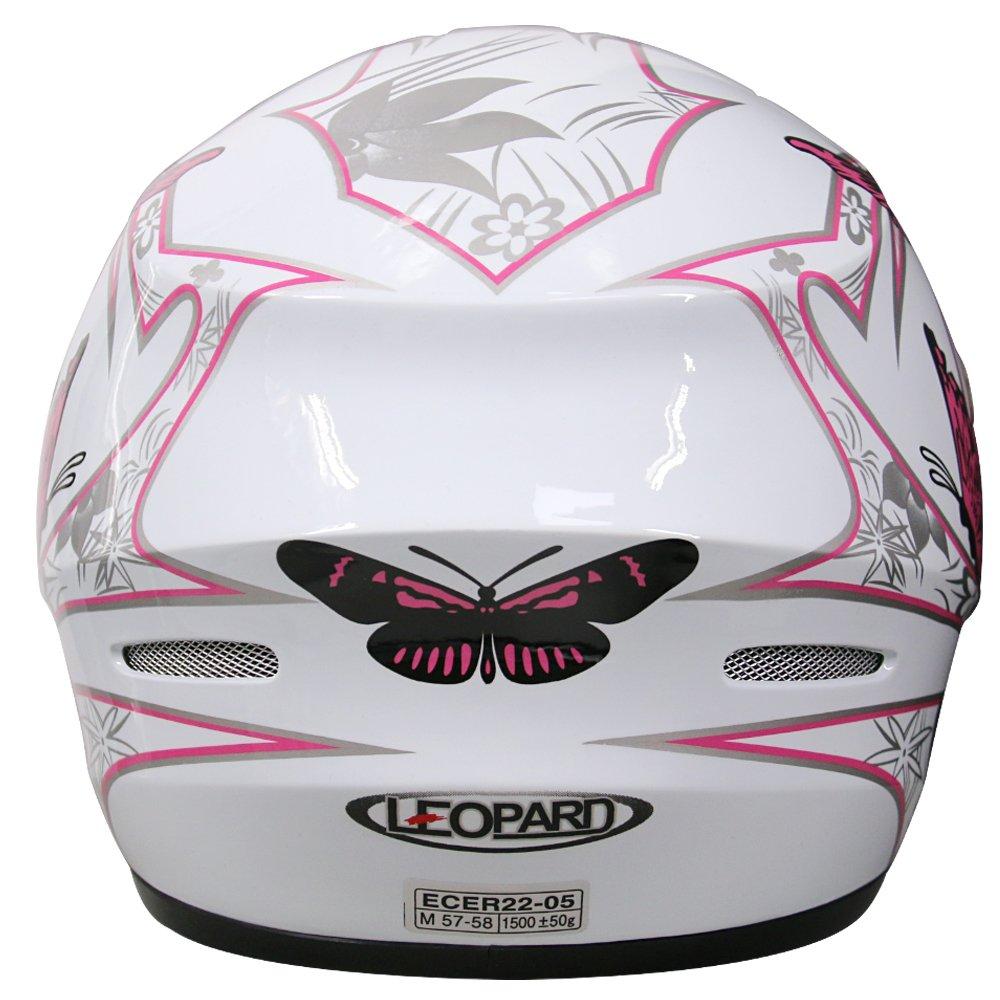 XS 53-54cm Leopard LEO-819 Casco Moto Integral Motocicleta Ciclomotor Scooter ECE Homologado Casco de Moto Integrales Mujer Hombre Adultos Extra Visera Oscura Mariposa Rosa