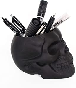 Skull Shaped Pen Pencil Holder Home Office Desk Supplies Organizer Accessory Black