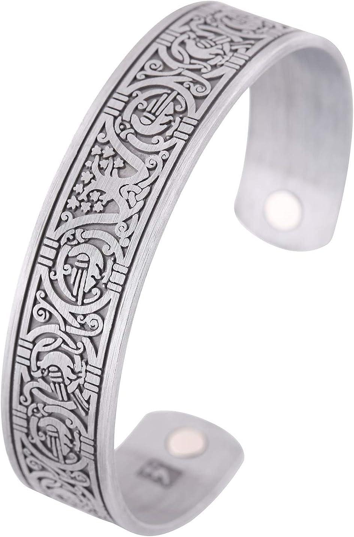 Pulsera de terapia magnética vikinga, árbol de la vida, nudo celta, brazalete para mujeres y hombres