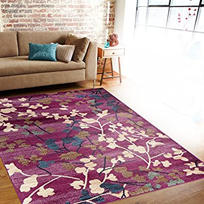Rugshop Contemporary Floral Soft Area Rug, 2' x 3', Purple - Soft and plush to walk on, perfect for your home, office also living room, dining room, kitchen, Bedroom, entrance, hallway Made in Turkey, 100% polypropylene machine made area rug with jute backing. These rugs will naturally resist stains, fading, soil and bacteria making them perfect addition to homes with kids and pets The high-quality polypropylene pile fiber adds durability and longevity to these rugs - living-room-soft-furnishings, living-room, area-rugs - 61D8P9AjjSL. SS400  -