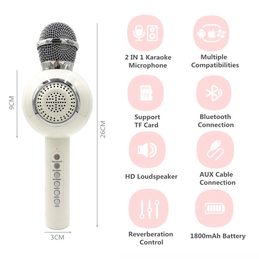 OceanEC Kids Bluetooth Karaoke Microphone, Wireless Rechargeable Portable Handheld Karaoke Music Microphone HiFi Loudspeaker MP3 Player for Kids Adult Home Party (Handheld White) by OceanEC (Image #2)