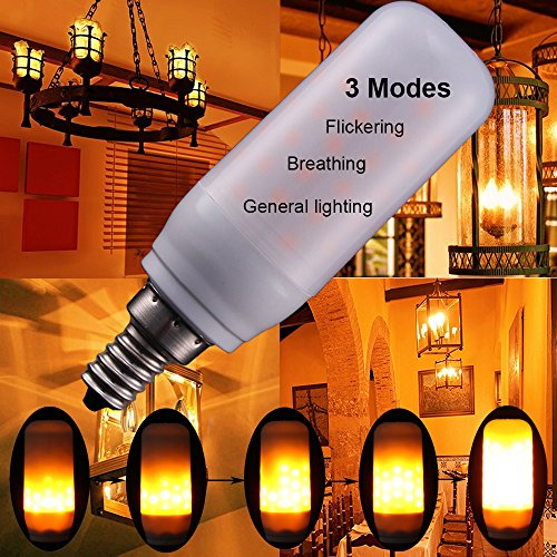 3Modes 3W E12 LED Flame Bulb,candelabra Atmosphere flickering for home Party Christmas (Flame Candelabra)