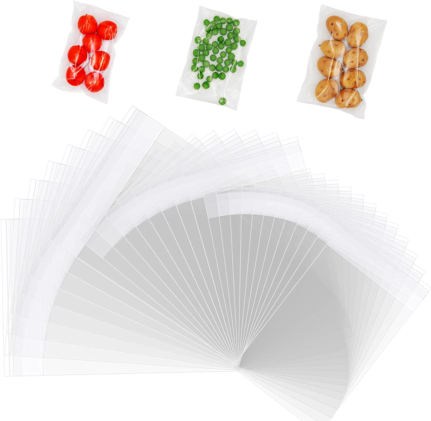 Treat Bags, 500pcs Self Sealing Cellophane Bags with 300Pcs 3.5X5'' & 150Pcs 4X6'' &50Pcs 5×7'' for Bakery, Candle, Jewelry, Snack, Cards, Soap