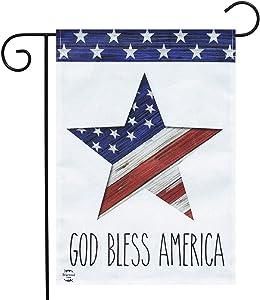 "Briarwood Lane God Bless America Star Patriotic Burlap Garden Flag 12.5"" x 18"""