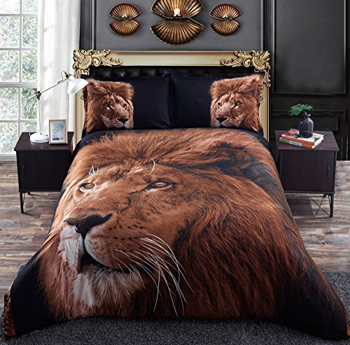 Alicemall Queen Size 3D Bedding Set Lion Black Back Print 4-Piece Polyester 3D Duvet Cover Sets, 4 PCS (1 Duvet Cover, 1 Flat Sheet and 2 Pillowcases) (Queen)