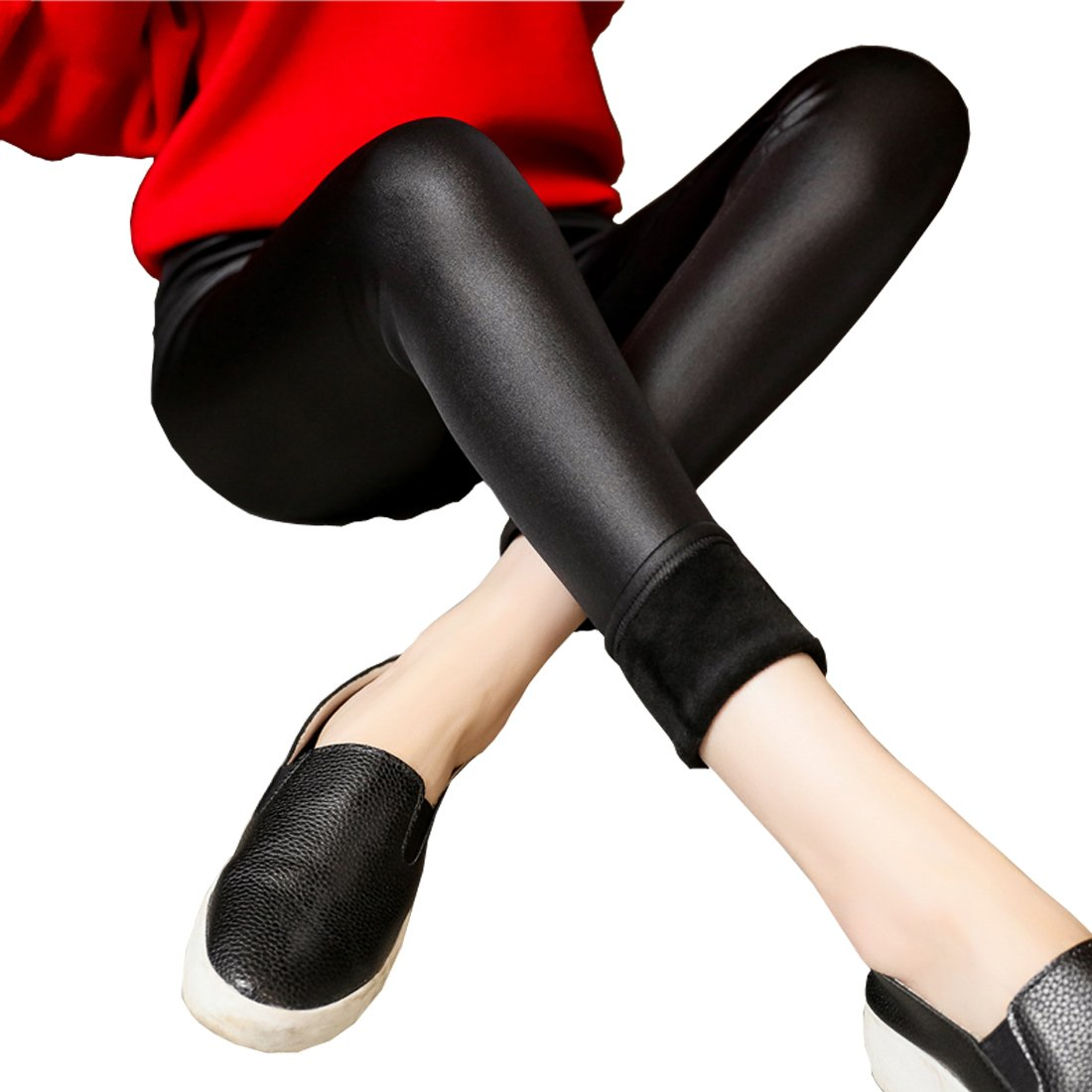 Weigou Woman Leggings Pants Winter Warm Thick Plus Velvet Faux Leather Skinny Legging Trousers (S, Black)