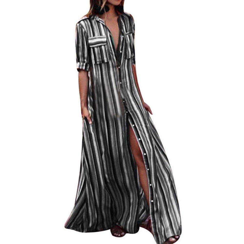 iLUGU Turndown Collar Half Sleeve Maxi Dress for Women 3 Color Vertical Stripes Full Button Jean Dress Black