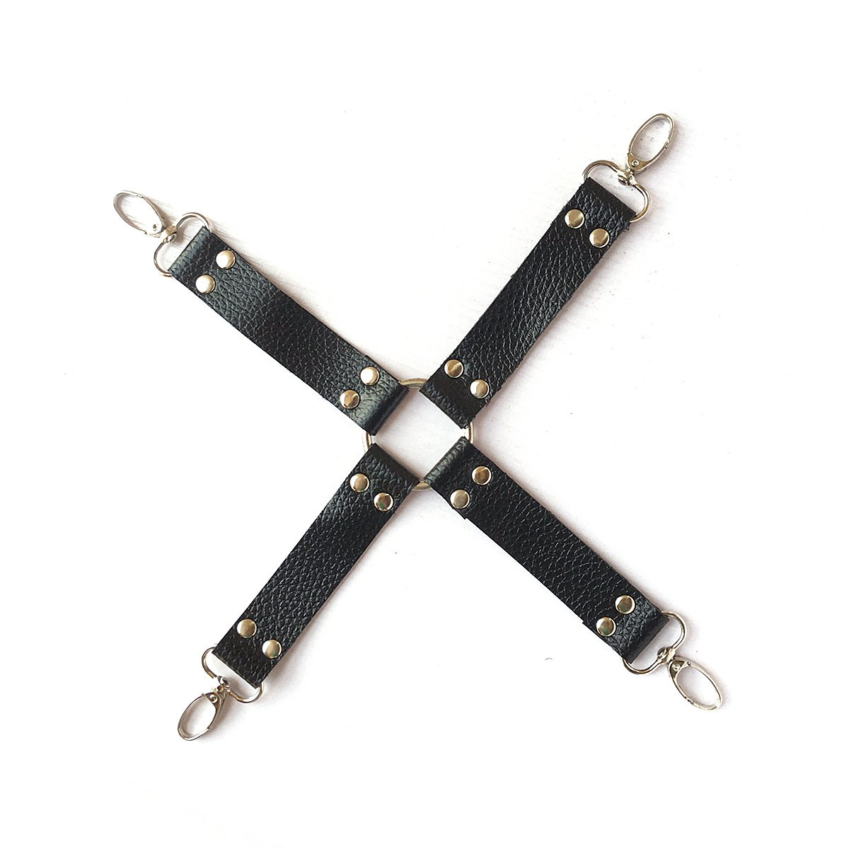 Black 10 Pcs Hands and Ankles Cuffs Premium PU Leather Adjustable Bed Kits