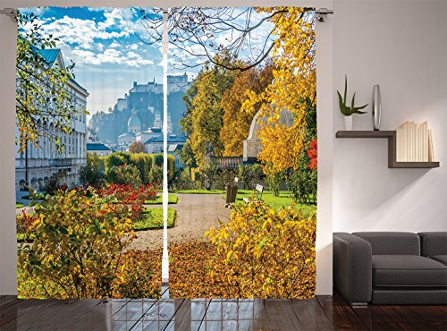 Ambesonne Country Home Decor Collection, Mirabell Gardens with the Old Historic Fortress Hohensalzburg Flowers Leaves Cityscape, Living Room Bedroom Curtain 2 Panels Set, 108 X 84 Inches, Yellow Blue