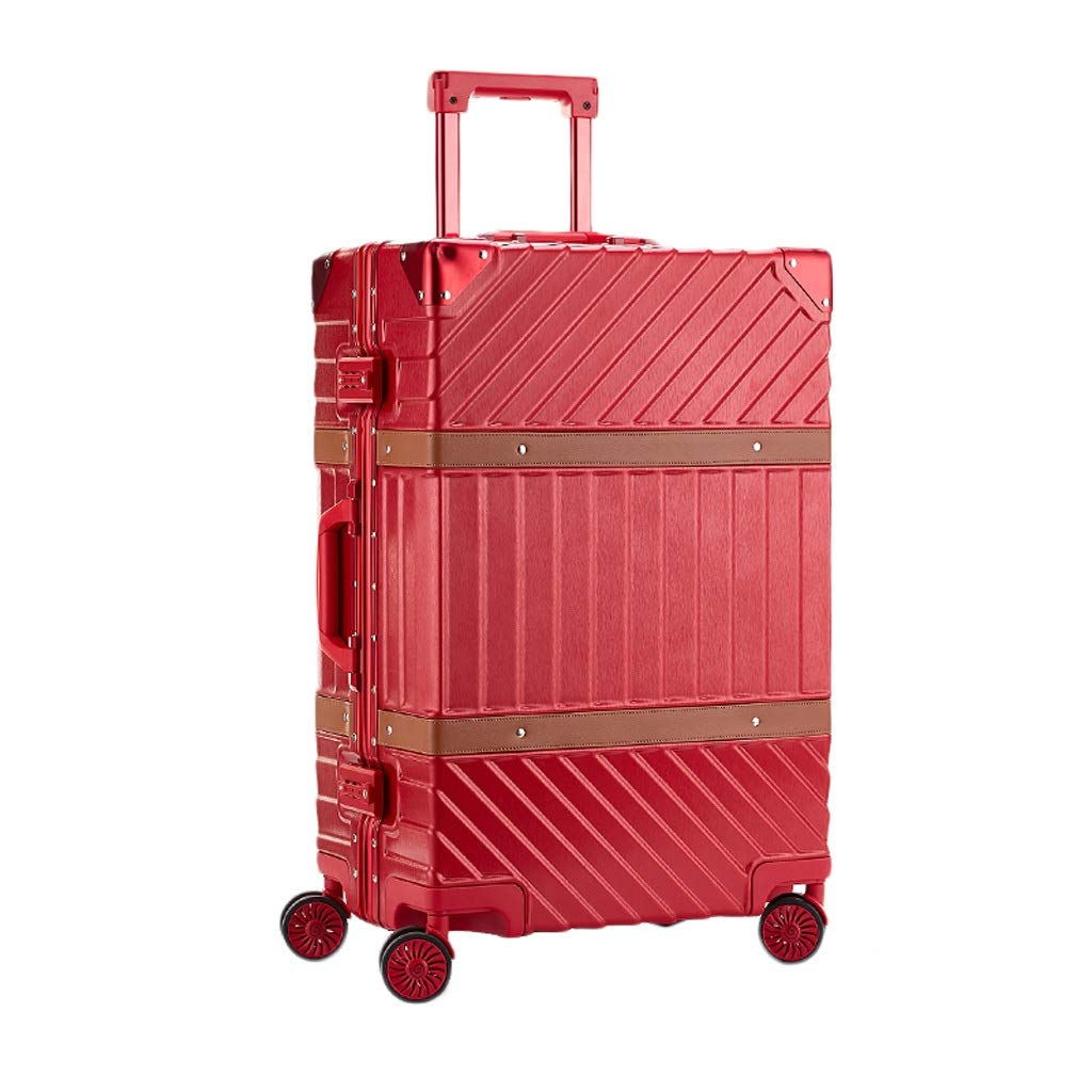 ZHAOSHUHLI スーツケーストロリーケースユニバーサルホイールアルミフレーム荷物スーツケース女性チェック済み荷物荷物ハードケース搭乗22インチ (Color : Red) B07R4SBGNZ Red