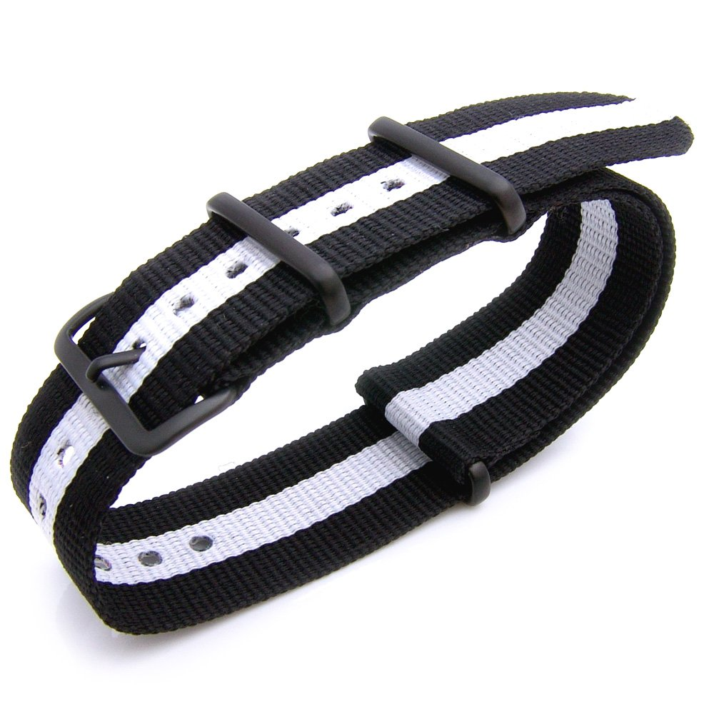 Nato 22mm James Bond Black-White-Black Watch Band IP Black Buckle